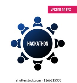 Vector illustration concept of team work, hackathon. Abstract image of Business. Vector icon on a white background . Negative space.