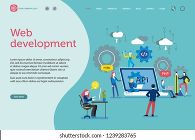 Vector illustration concept. A team work creatively together on content management for website; developers, seo, social network. Landing page template. Easy to edit and customize. Vector illustration.