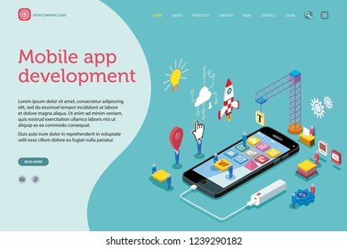 Vector illustration concept. A team work creatively together on mobile application; developers, seo, social network. Landing page template. Easy to edit and customize. Isometric vector illustration.