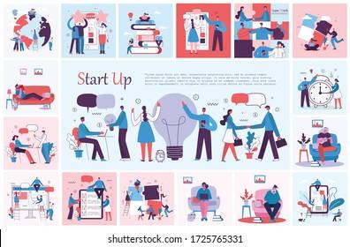 Vector illustration of concept of Team work, Business and Start up design backgrounds