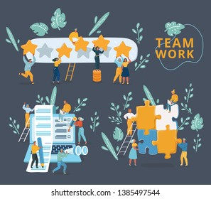 Vector illustration of concept team working for building application, social media and web rank. Tiny people with giant laptop, rating stars, big puzzle. Character on dark background.