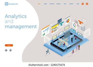Vector illustration concept. A teamwork in a analytics and management company. The big screens sowing data, Infographics and numbers. Landing page design template.