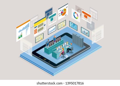 Vector illustration concept. A teamwork in a analytics and management company. The big screens sowing data, Infographics and numbers. Landing page design template. Vector illustration.