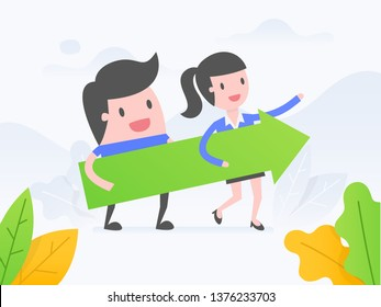 Vector illustration concept of teamwork. Business people standing and holding indicator of growth.