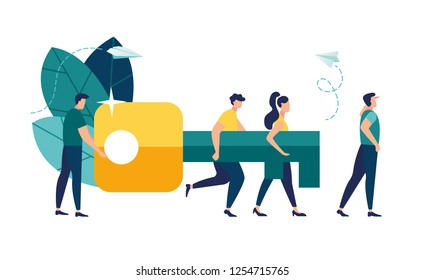 Vector illustration of the concept of teamwork. Businessman and entrepreneur go to the door with a key