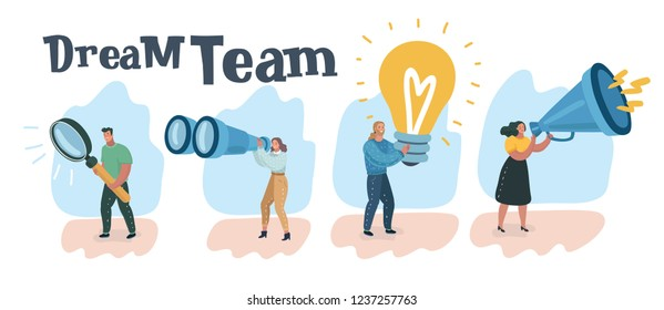 Vector illustration concept of teamwork.Creative, marketing material, business presentation, online advertising, smm, hr, testing, research, creative, marketing blogging.