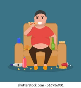 Vector illustration concept unhealthy lifestyle, human laziness. Cartoon fatty husband sitting on couch and eat junk food. Fat man obese on sofa, armchair. Flat style. Harmful food for health.