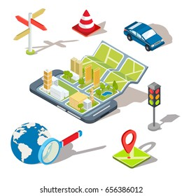 Vector illustration of the concept using the mobile application of the global positioning system. Image of a smartphone with a paper map unfolded from it, map with location symbols, 3D houses, car