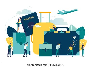 vector illustration, concept of vacation planning, business trip, trip, suitcase and tourism set, hand luggage, travel, tour