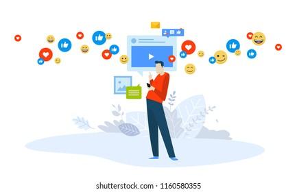 Vector illustration concept of video marketing, live streaming. Creative flat design for web banner, marketing material, business presentation, online advertising.