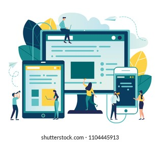 Vector illustration, vector illustration of the concept of web page design and development of mobile websites, small people are working on creating a website, applications, transferring information vi