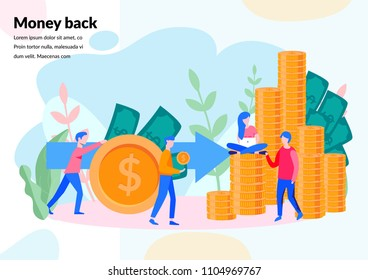 Vector  illustration Concept for web page, banner, presentation, social media, documents, cards, posters. business graphics, concept of money back, investment, currency exchange, savings account