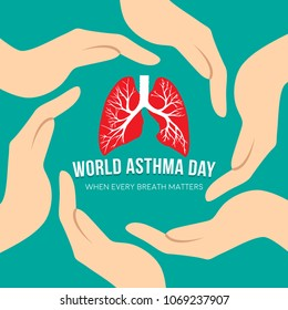 Vector illustration concept for World Asthma Day. Can be used for banner, backgrounds, icon, label, symbol, awareness poster, print and brochure design.