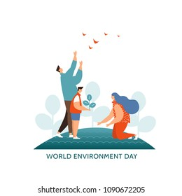 Vector illustration concept world environment day icon. Young family plant trees together