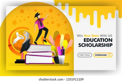 Vector illustration concept. Yellow banner website about educational scholarship. bachelor try to reach stars are surrounded by globe and stationery. suitable for print , online. Flat cartoon style
