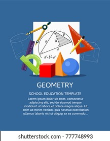 Vector illustration concepts for geometry education and knowledge. Mathematic science. Concepts for web banner and promotional material.