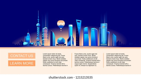 Vector illustration of a conceptual horizontal advertising banner with modern houses of chinese night Shanghai, illuminated by neon lights, landing page,