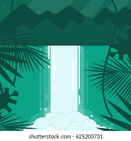Vector illustration. A conceptual image of a waterfall in a flat style. Emerald, blue, green tones. Mountains in the background and the night starry sky.In the foreground are tropical plants