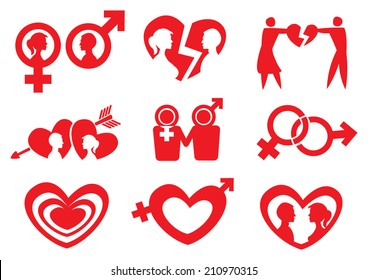 Vector illustration of conceptual symbols to represent romantic relationship of man and woman