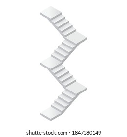 Vector illustration concrete staircase with a turns isolated on a white background. Industrial long flight of stairs icon in isometric view. Isometric modern stair without rails in flat style. 3D.