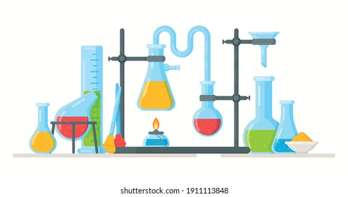 Vector illustration of conducting an experiment.