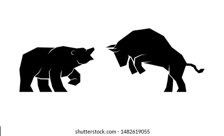 Vector illustration of confrontation between two market participants - bulls and bears. EPS 8