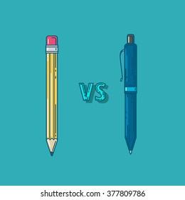 vector illustration. confrontation vs. pencil and pen. pencil and pen web. pencil and pen flat.  pencil and pen icon
