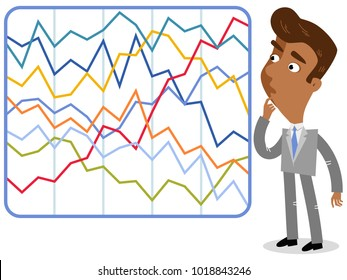 Vector illustration of a confused asian cartoon businessman looking at complicated colorful statistics.