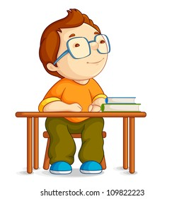 vector illustration of confused school boy sitting on table