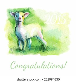 vector illustration congratulations 2015, little lamb on the green grass, sheep, goat, ram, sketch watercolor