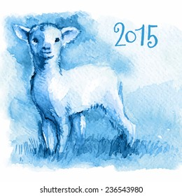 vector illustration congratulations 2015, little blue lamb, sheep, goat, ram, sketch watercolor, ?hinese symbol 2015