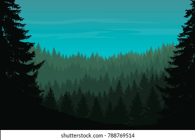 Vector illustration of a coniferous forest with trees under a green blue sky with clouds