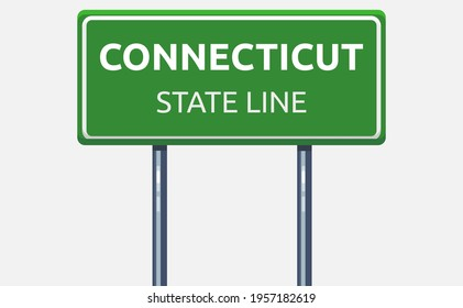 Vector illustration of Connecticut state line road sign