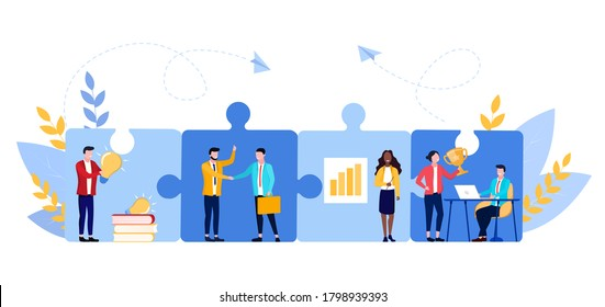 Vector illustration of connecting elements. Concept of transfer knowledge and skills in business company