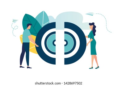 Vector illustration, the connection of the two halves of the target puzzle, teamwork, cooperation