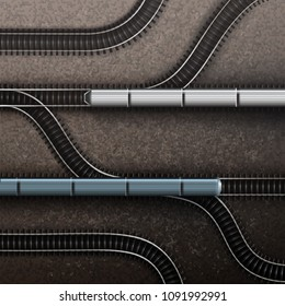 Vector illustration of connections railroad rail road railway tracks with trains. Isolated top view