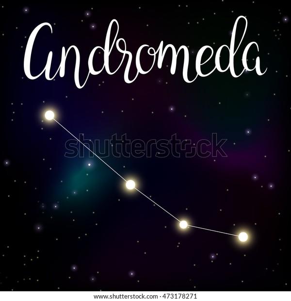 Vector Illustration Constellation Andromeda Lettering