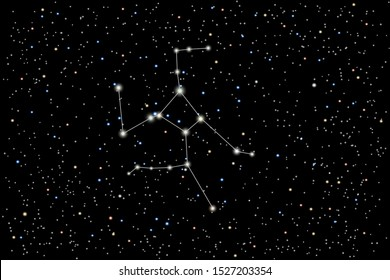 Vector illustration of the constellation  Hercules on a starry black sky background. The astronomical cluster of stars in the constellation in the northern  hemisphere.