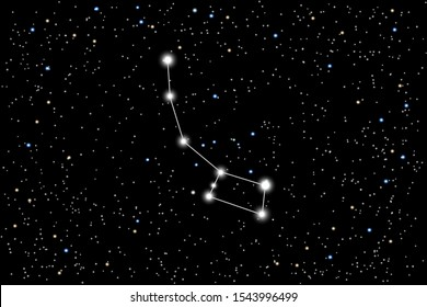 Vector illustration of the constellation Lesser Bear on a starry black sky background. Little Dipper is a asterism of the constellation Ursa Minor. North Star and North Pole of the world.