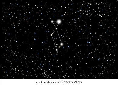 Vector illustration of the constellation Lyra (Lyre) on a starry black sky background. The astronomical cluster of stars in the constellation in the northern celestial hemisphere.