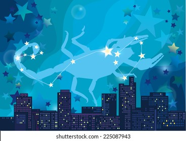 vector illustration of constellation - sign of the zodiac in the night sky over the city