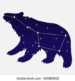 vector illustration of the constellation Ursa Major. stars in the night sky. constellation scheme.