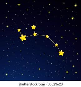 Vector illustration of constellation Ursa Minor