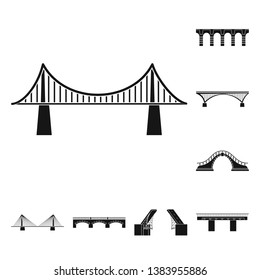 Vector illustration of construct and side sign. Collection of construct and bridge stock symbol for web.