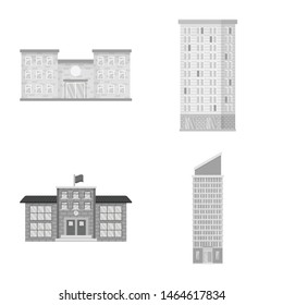 Vector illustration of construction and city sign. Collection of construction and center stock vector illustration.