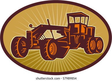 vector illustration of a Construction road , blade or motor grader with sunburst in the background set
