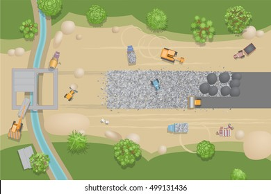 Vector illustration. Construction of roads and bridges. View from above. Stage of construction road. Construction machinery. (top view)