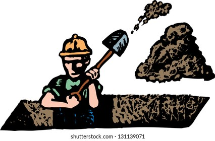 Vector illustration of a construction worker digging a ditch
