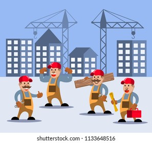 Vector illustration of construction worker on building site.