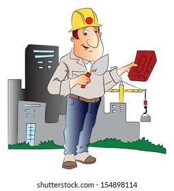 Vector illustration of construction worker with trowel and brick in front of a building.